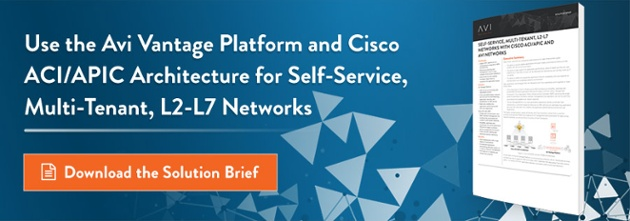 Avi Vantage Platform and Cisco ACI/APIC
